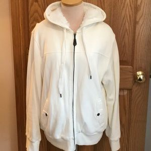 Cream Sherpa lined hooded jacket